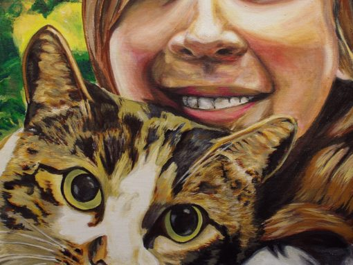 2012-12 – Commissioned Pet Portrait Painting  by Cameron Dixon  – Crystal the Cat with Pauline