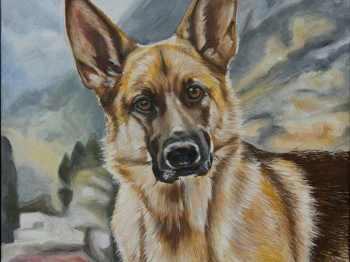 2014-12 – Commissioned Pet Portrait Painting by Cameron Dixon – Lily GSD