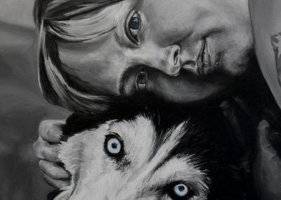2010-12 - Commissioned Painting - Pet Portrait Painting - Sarah and Maui Complete
