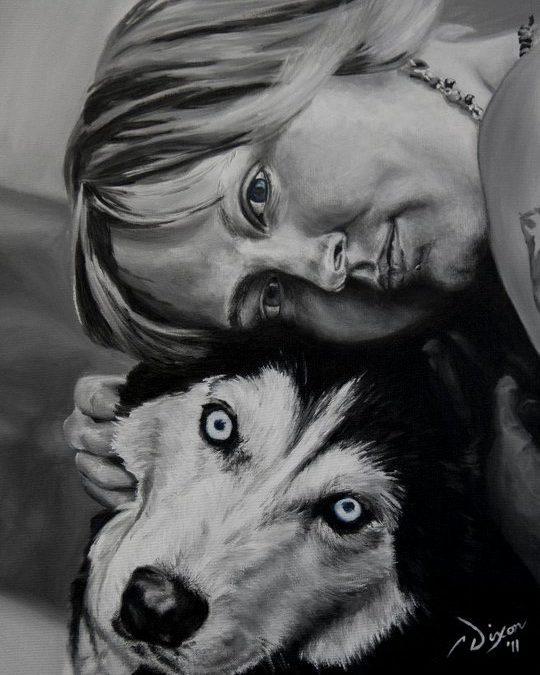 Pet Portrait Painting by Cameron Dixon – Sarah and Maui