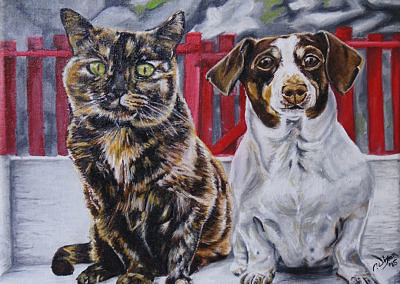2015-04 - Commissioned Pet Portrait Painting - Abbey and Sophie - Complete