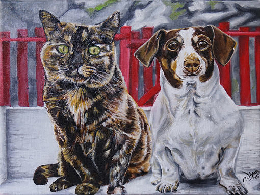 2015-04 – Commissioned Painting – Pet Portrait Painting by Cameron Dixon – Abbey and Sophie