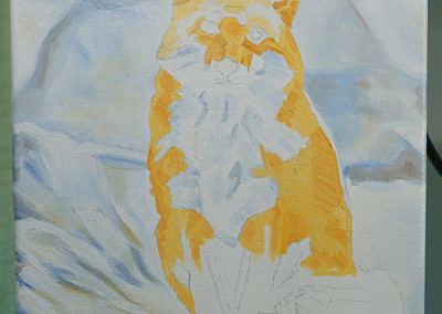 Fox Sitting in Snow by Cameron Dixon - progress1
