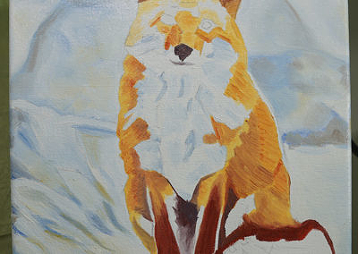 Fox Sitting in Snow by Cameron Dixon - progress-2