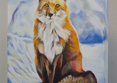 Fox Sitting in Snow by Cameron Dixon -Complete-left