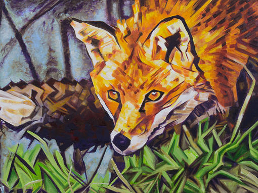 2017-02 – Original Painting by Cameron Dixon – The Surreptitious Stalker (Fox)