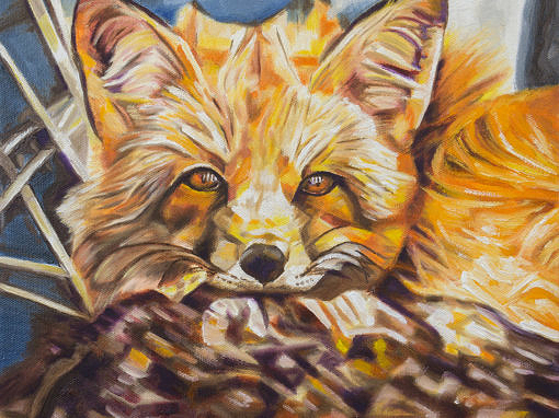 2017-03 – Original Painting by Cameron Dixon – Cozy Fleece Fox