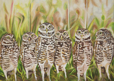 2016-05 - Art Bark - Burrowing Owls - Original painting by Cameron Dixon