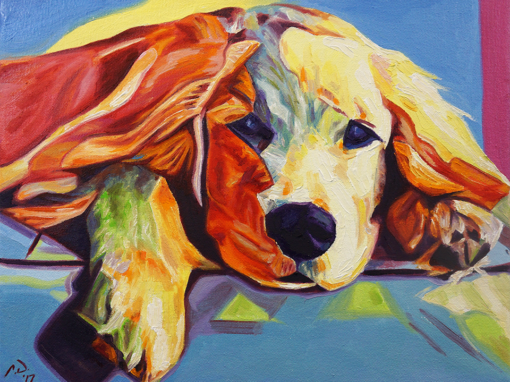 2017-04 – Original Painting by Cameron Dixon – Pop Art Golden Retriever Puppy