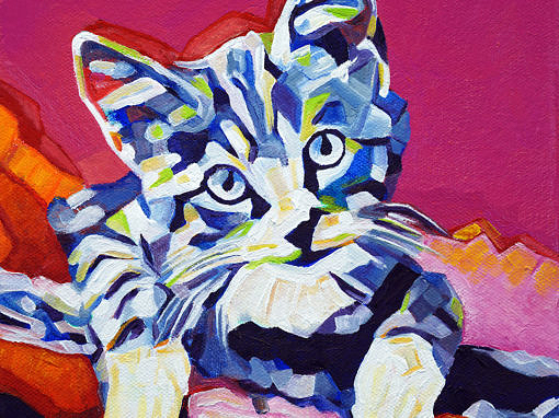 2017-04 – Original Painting by Cameron Dixon – Pop Art KITTEN 1