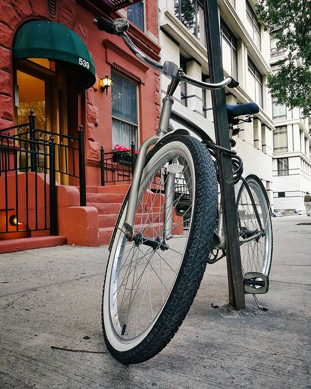 I felt bad for this cool pedal bike. I walk by it every other day and it seems to never move and it has a flat rear tire. #topnewyorkphoto