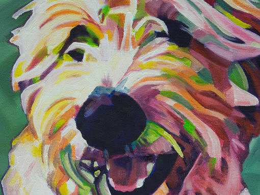2017-06 – Commissioned Painting by Cameron Dixon – Pop Art – Milly the Labradoodle