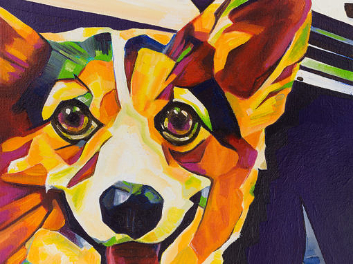 2017-07 – Original Painting by Cameron Dixon – Pop Art – Corgi -1