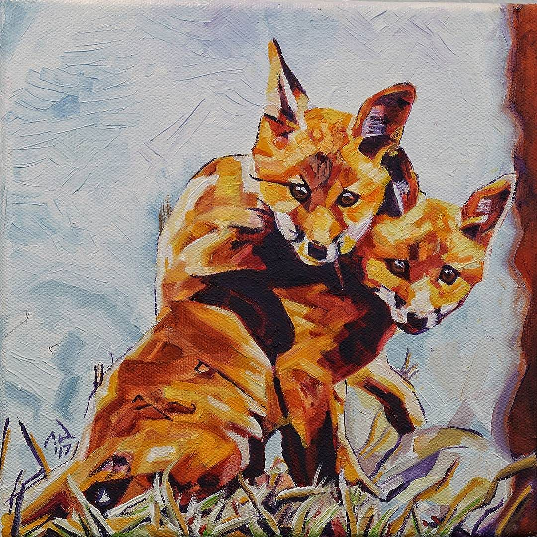 Two Fox Cubs 8in x 8in Oil on canvas $160USD + shipping Prints and products starting from $22USD/$29CDN available tomorrow via: www.camerondixon.com Original available tomorrow via my Etsy shop: www.etsy.com/shop/CameronDixonsArt