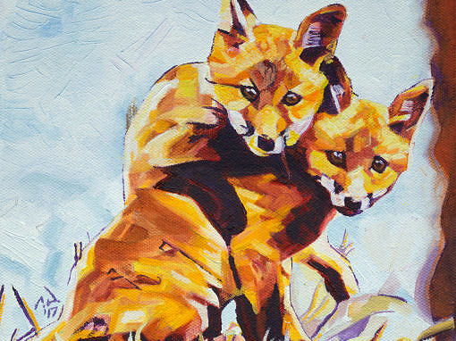 2017-03 – Original Painting by Cameron Dixon – Two Fox Cubs Playing