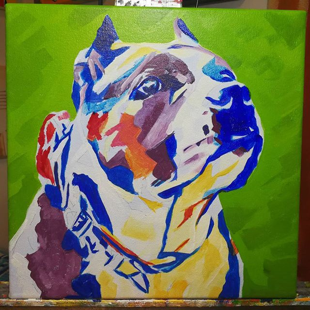 Pop Art Pet PortraitWork in ProgressAthena 12in x 12in x 1.375inBlocking in colours using acrylic paint prior to reworking with a final coat of oil.#nyc #newyork #newyorkcity #manhatten #eastharlem #ilovenyc #contemporaryart #modernart #photooftheday #igersofnyc #newyorkart #newyorkartist #nyart #popart #petportrait #petpainting #dogpainting #abstractart #commissionedartist #instadog #dogsofinstagram #dog #puppysofig #puppypainting #bully #instaamericanbully #pitbullsofig #pibble #pibblepainting