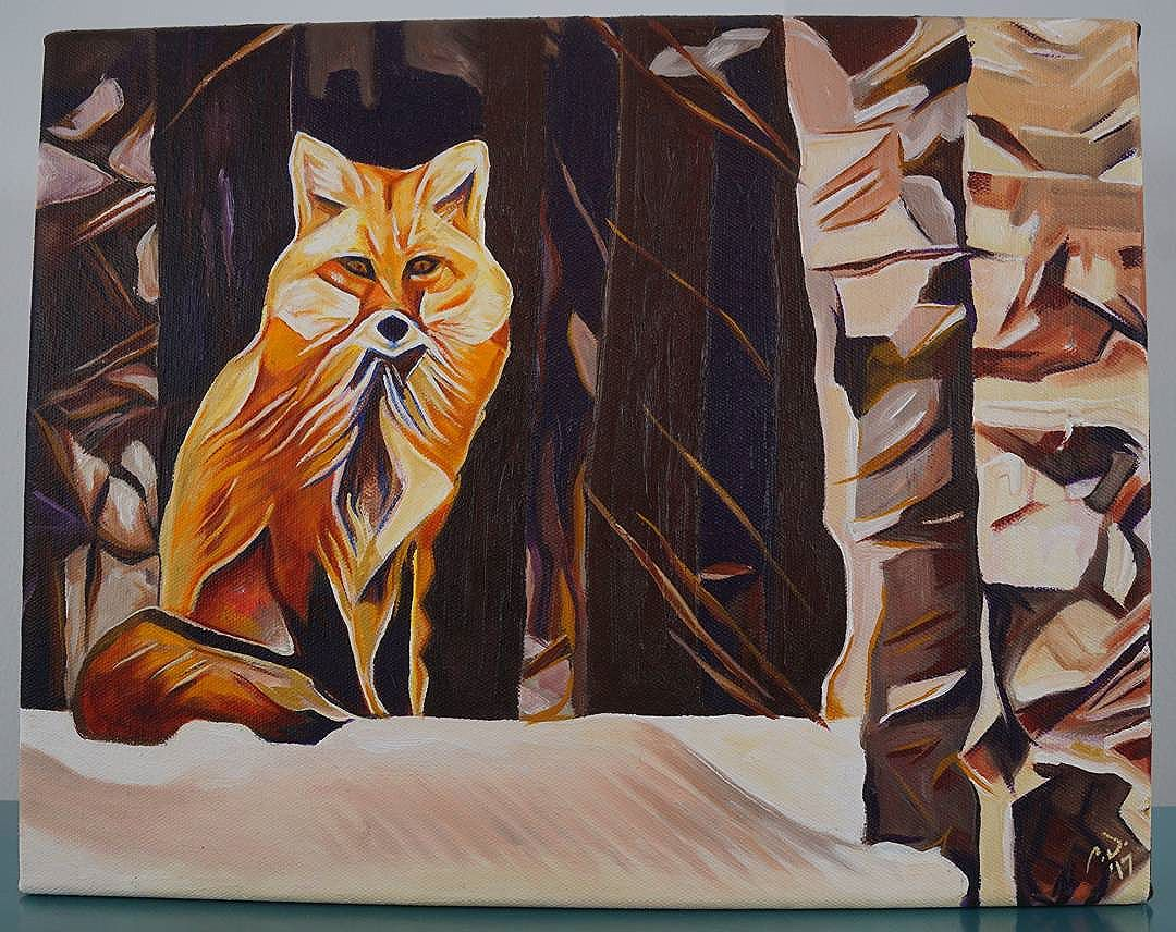Fox Sitting Near Birch 11in x 14in  Oil on canvas. This painting will be available for purchase soon on  www.camerondixon.com