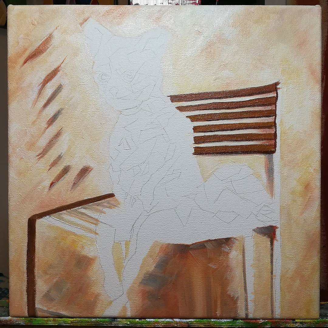 Work in Progress Bad Taxidermy Fox. 12in x 12in Acrylic/oil on canvas  Is this the end of the fox series? Nah! ...maybe?