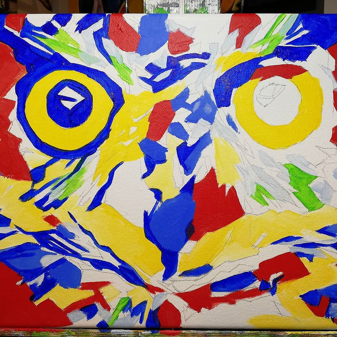 Work in Progress Pop Art Owl Face. 11in x 14in Oil over Acrylic  I still have vivid memories of owls when I was 8-13 years old and was delivering the Alaska Highway Newspapers in the dark of winter after school. Often they would be perched on fence posts or high on power lines scanning thier territory. The closest I ever got to them was within 50 feet and I would stand quietly and stare until it decided to fly away.