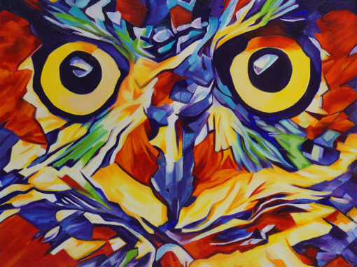2017-12 – Original Painting by Cameron Dixon – Pop Art Owl Face-1