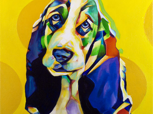 2017-10 – Original Painting by Cameron Dixon – Pop Art Basset Hound