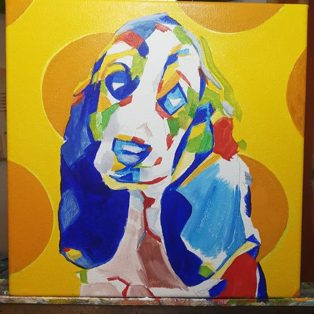 Pop Art Pet Portrait - In Progress Bassett Hound Puppy 12in x 12in x 1.375in  This painting has been a rework from Oct. 2017. This is a progress image when the first coat of oil has started to be applied.