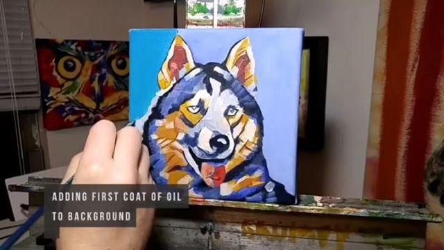 PopArt Husky Timelapse - 8in x 8in - Oil over Acrylic.  Owwwwwwwwooooooohh!!! Purchase custom commissions direct through my Etsy shop: https://goo.gl/bQyD43  Pricing: www.camerondixon.com/pricing